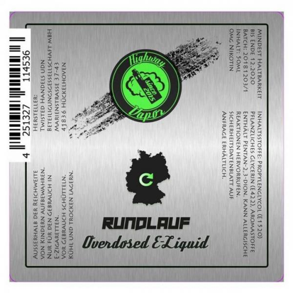 Twisted - Highway Vapor - Rundlauf - 0mg/ml 50ml
