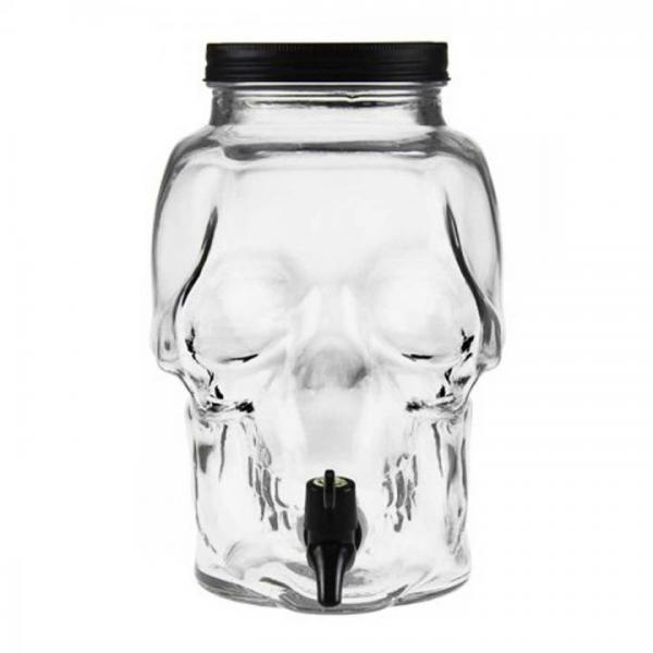 Skull 3 Liter Totenkopf Glassflasche mit Zapfhahn